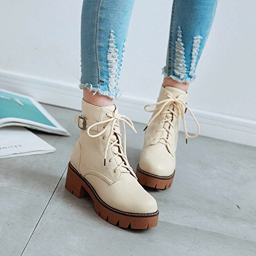 Carolbar Dames Lace Up Gesp Mid Hak Martin Oxfords Korte Laars Beige