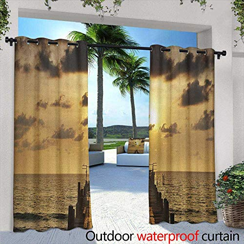 LOVEEO Landscape Outdoor Curtains Old Wooden Deck Pond Over The Sea Horizon Sunset Time of The Day Peaceful Scene Energy Efficient, Room Darkening 108
