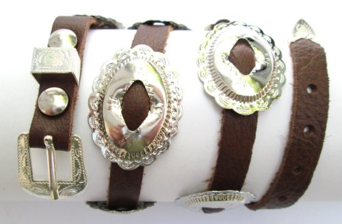 (Western Hat Band Brown Leather with 10 Oval Scalloped Conchos, 3-pc buckle set)