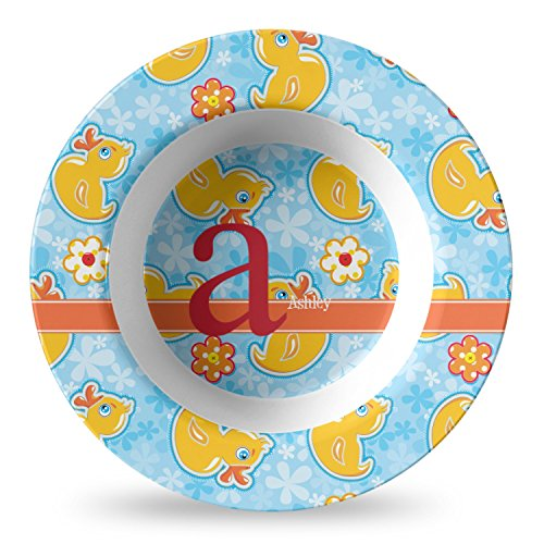 Rubber Duckies & Flowers Plastic Bowl - Microwave Safe - Composite Polymer (Personalized)