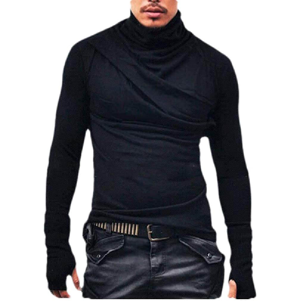 Sweatwater Mens Solid Turtleneck Casual Long Sleeve Hip Hop T-Shirts
