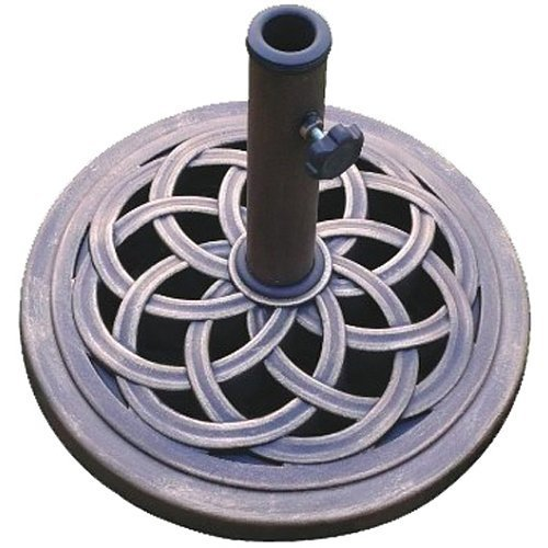 Market 9 Umbrella Base (DC America UBP18181-BR 18-Inch Cast Stone Umbrella Base, Made from Rust Free Composite Materials, Bronze Powder Coated Finish)
