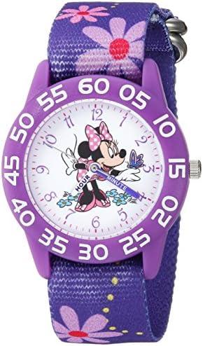 Girl 's Minnieマウス' QuartzプラスチックとナイロンカジュアルWatch , Color :パープル(モデル: wds000498 )
