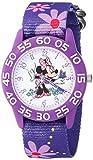 Disney Girl's 'Minnie Mouse' Quartz Plastic and Nylon Casual Watch, Color:Purple (Model: WDS000498)