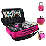 Relavel Makeup Bags Travel Large Makeup Case 16.5'' Professional Makeup Train Case 2 Layer Cosmetic Bag Makeup Artist Organizer Brush Holder Storage with Shoulder Strap and Dividers (Large Hot Pink)