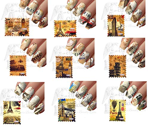 (9pcs Nail Art Postage Stamps Sticker Decoration Water Transfer Decal City)