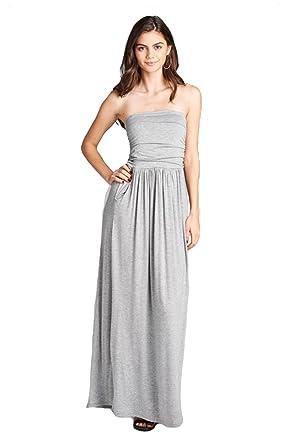 52be14a9f4d3b Niobe Womens Solid Empire Cut Tube Maxi Dress w/Pockets (Small, Heather Grey