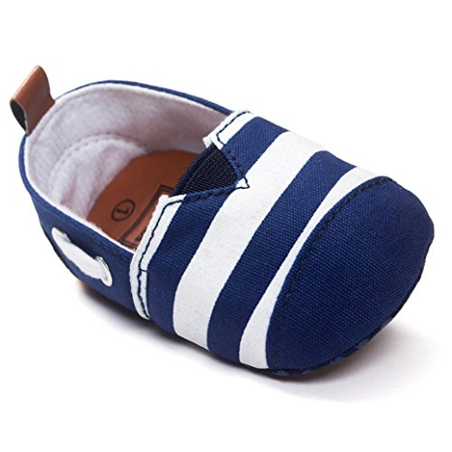 Cheap YJYdada Baby Toddlers Infants Soft Sole First Walker Shoes Canvas Stripe Crib Shoes(12(6~12months))