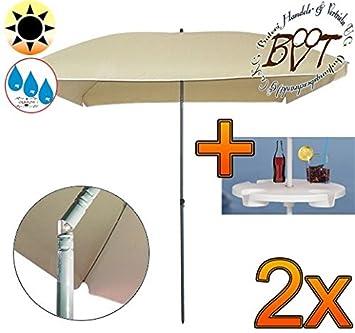 Amazon De 2 Stck Grosser Sonnenschirm Mit Getranketisch