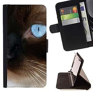 Momo Phone Case / Flip Funda de Cuero Case Cover - Siamés azul persa Eye Bigotes Coches; - Sony Xperia M2