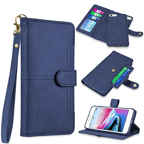 Insten The NAPA Collection Detachable Stand Folio Flip Leather [Card Slot] Wallet Flap Pouch Case Cover Compatible with Apple iPhone 7/8, Blue