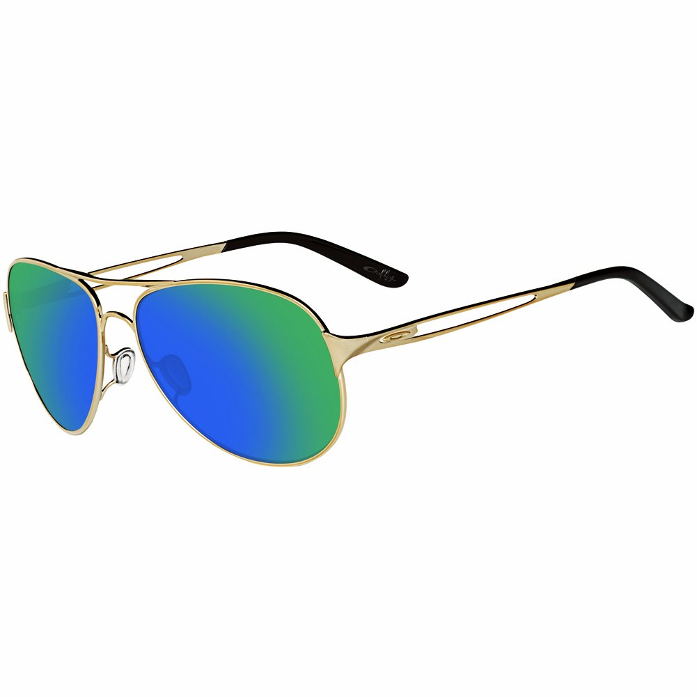 Oakley Women's OO4054 Caveat Aviator Metal Sunglasses, Polished Gold/Jade Iridium, 60 mm by Oakley