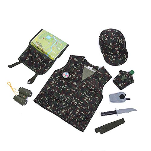 TOPTIE Camo Tactical Soldier Costumes, Military Motif Role Play Set for Kid-Green-S