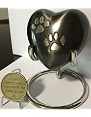 Paw Print Heart Shaped 3 Pet Keepsake Urn With Stand And Always Remembered Forever Loved Memorial Dog Medallion by RecoveryChip