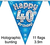 ELEGANZA 40th Birthday Bunting, Foil, Blue, 10 x 10 x 1 cm