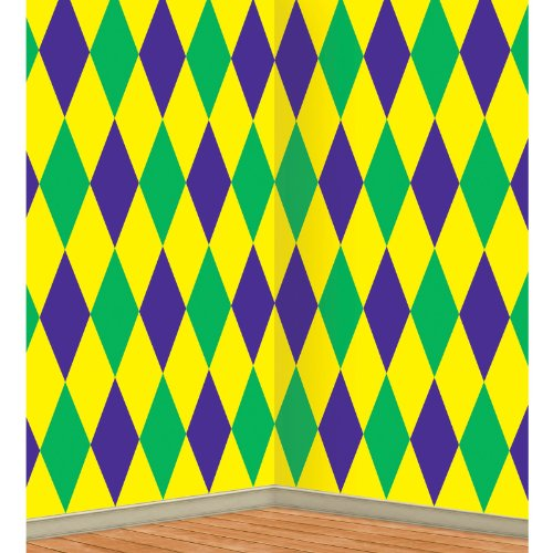 Mardi Gras Harlequin Backdrop Party Accessory (1 count) (1/Pkg) -
