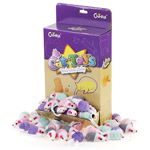 Chiwava 36 Pack Small Interactive Cat Toys Mice with Catnip Rattle Sound Mouse for Indoor Cats Kitten Play