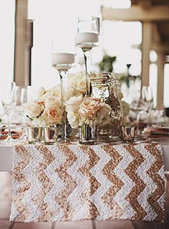 High Quality Sequin Chevron Table Runner In Blush/White