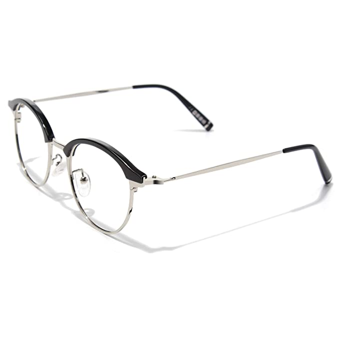 nuovo prodotto a95fb 5cc33 CGID Occhiali da Vista Rotondi Browline TR90 Montatura in ...
