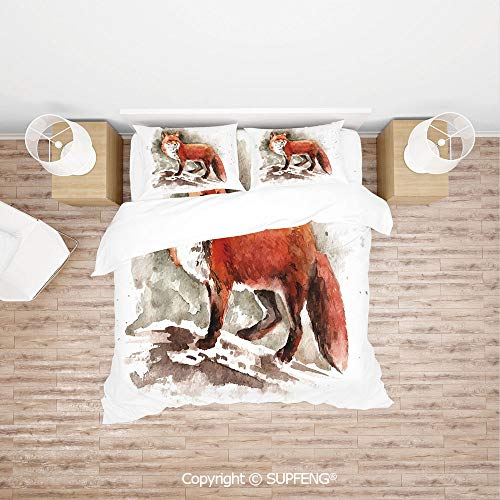 - SCOXIXI 3D Duvet Cover Bedding Sets Watercolor Hand Drawn Red Fox with Bushy Tail Brushstrokes Tod Mammal Decorative (Comforter Not Included) Soft, Breathable, Hypoallergenic, Fade Resistant