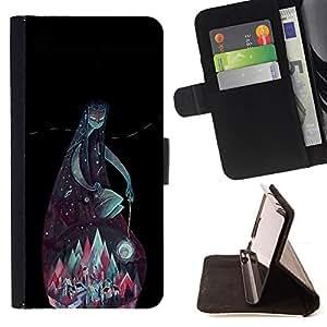 BullDog Case - FOR/Samsung Galaxy S4 Mini i9190 / - / TEAL MOUNTAINS GOD NIGHT BLACK GREEN /- Monedero de cuero de la PU Llevar cubierta de la caja con el ID Credit Card Slots Flip funda de cuer