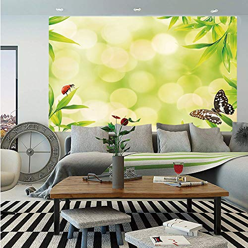 Plant Huge Photo Wall Mural,Ladybug and a Butterfly Standing on a Bamboo Leaves Bokeh Background Decorative,Self-Adhesive Large Wallpaper for Home Decor 108x152 inches,Light Green Multicolor