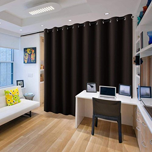 (RYB HOME Extra Wide Long Curtain Privacy Office Space Divider Wall Panel, Portable Grommet Room Divider Curtain for Inside Patio Sliding Glass Door, 9 Foot Tall x 15 Foot Wide, Black, 1 Pack)