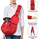 SlowTon Pet Carrier, Hand Free Sling Adjustable Padded Strap Tote Bag Breathable Cotton Shoulder Bag Front Pocket Safety Belt Carrying Small Dog Cat Puppy Up to 16 lbs Machine Washable (Red)