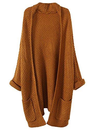 Futurino Damen Winter/Herbst Einfarbig Offener Langarm Taschen Roll Cuff Warme Knitwear Cardigan Mantel one size Khaki