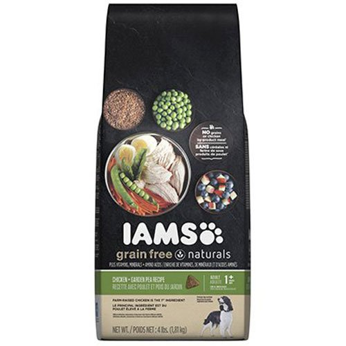 Iams Food Coupons - IAMS Grain Free Naturals Adult Chicken and Garden Pea Recipe Dry Dog Food 4 Pounds
