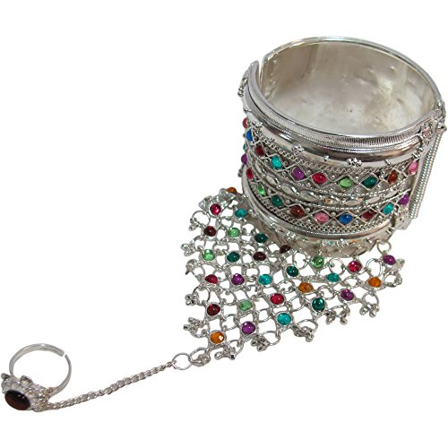 Indian Traditional Gypsy Belly Dance Cuff Slave Chain with Ring Bracelet (Silver (Traditional Dance Costumes Of India)