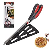 NHSUNRAY Stainless Steel Pizza Cutter Scissors with Removable Spatula and Safety Switch 2 in 1 Pizza Kitchen Tool 11' Long (Black-Red)