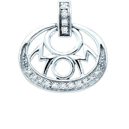 Sterling Silver Womens Round Diamond Mom Mother Oval Pendant 1/8 Cttw