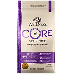 Wellness Core Natural Grain Free Dry Cat Food, Kitten Turkey & Chicken Recipe, 5-Pound Bag