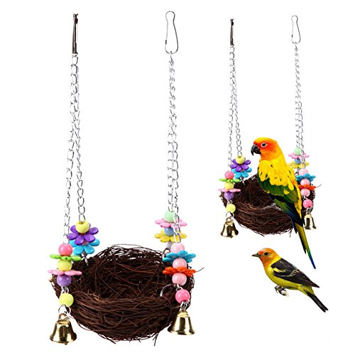 Pet Hanging Nest - 1 Piece Parrot Hanging Rest Nest Basket Cage Birds Toy With Bell Bite Pet Cockatiel Parakeet Stand Perch Swing by Unknown
