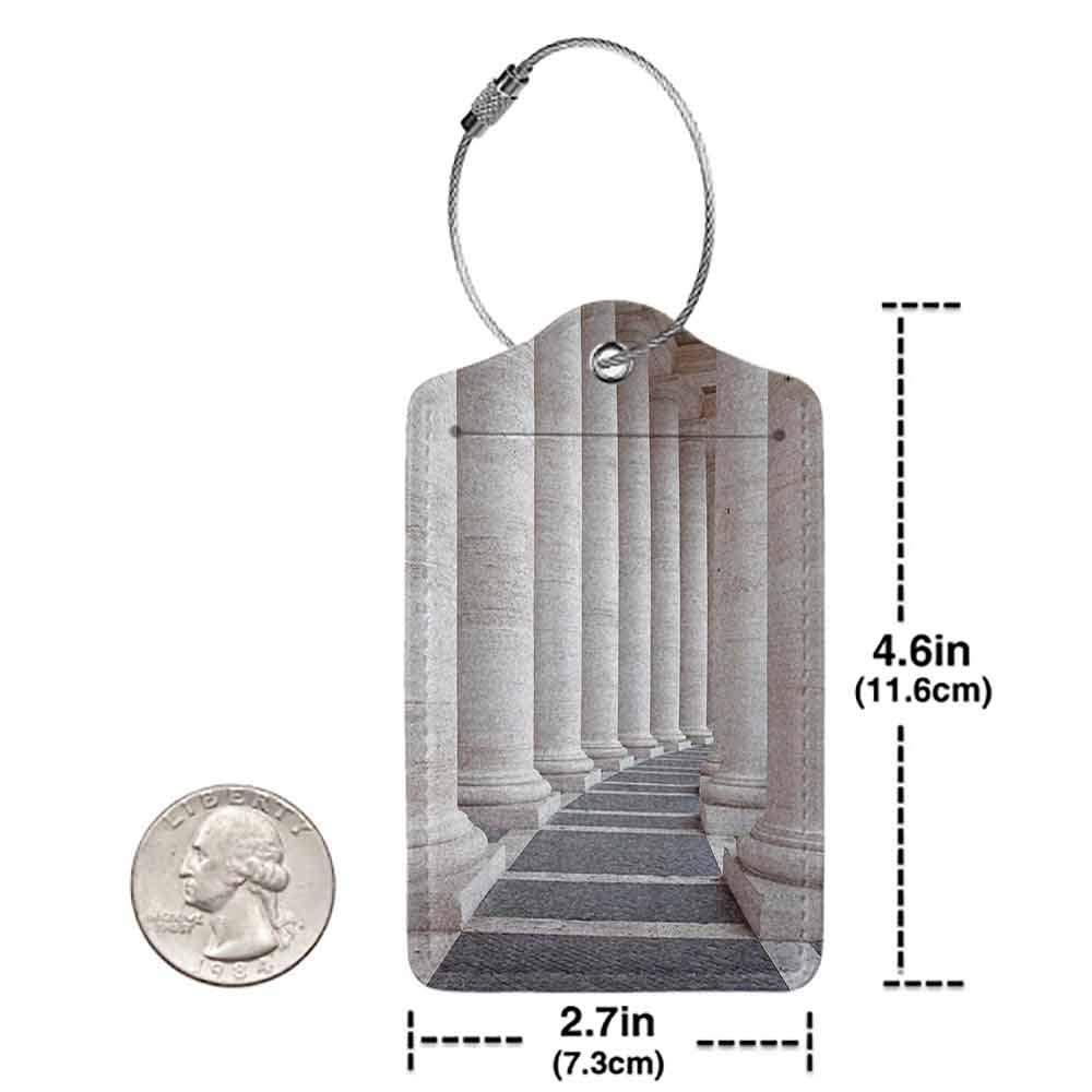 Soft luggage tag Pillar Decor Ancient Theme Roman Columns Stone Pillars Old Architecture Digital Image Bendable Dust and Grey W2.7 x L4.6