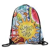 Summer Time Funny Logo Drawstring Bags Portable Backpack Pocket Bag Travel Sport Gym Bag Yoga Runner Daypack