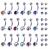 BodyJ4You 18PCS Belly Button Ring and 18 Replacement Balls Surgical Steel 14G Navel Piercing Body Jewelry