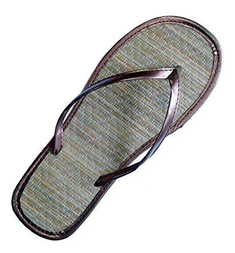 Bamboo Flip Flop Sandals (Pure Ziva Women's Metallic Brown Bronze Bamboo Casual Flip Flop Flat Sandal Shoe Size 10)