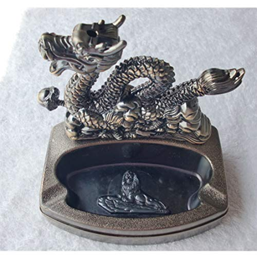 JONARO 1 pcs Desktop Metal Ashtray with Lighter Flame Arts and Crafts Creative Gifts Home Decor Multifunction