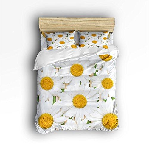 (Fantasy Star White Daisy Comforter Bedding Set One Side Print 4 Piece Soft Home Duvet Cover Set, Include 1 Flat Sheet 1 Duvet Cover and 2 Pillow Cases, Queen Size)
