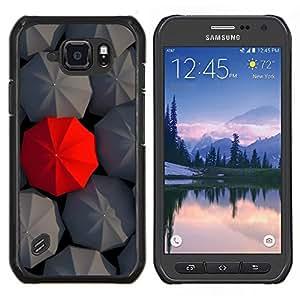 TECHCASE---Cubierta de la caja de protección para la piel dura ** Samsung Galaxy S6 Active G890A ** --Metáfora Gris Paraguas Rojo Especial