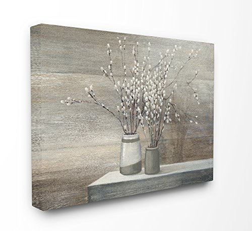 (Stupell Industries Pussy Willow Still Life Stretched Canvas Wall Art, Proudly Made in USA)