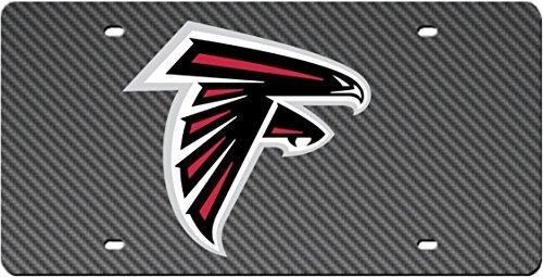 - Atlanta Falcons CARBON FIBER DESIGN Deluxe Laser Cut Acrylic Inlaid Mirrored License Plate Tag Football