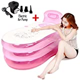 Geek-House Foldable Inflatable Bath Tub Portable Adult Transparent SPA Bathtub with Electric Air Pump, Pink, Size M
