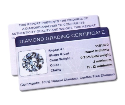 Revoni-Boucles d'Oreilles Clous Femme-Diamant rond brillant certifié IJ/I, or blanc 18carats Diamant Boucles d'oreilles, 0,75carats Poids du Diamant
