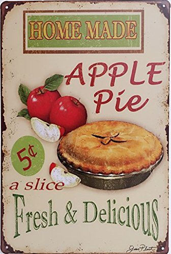 2 Retro Signs (Home Made Apple Pie Retro Fresh & Delicious Food Vintage Tin Sign 12