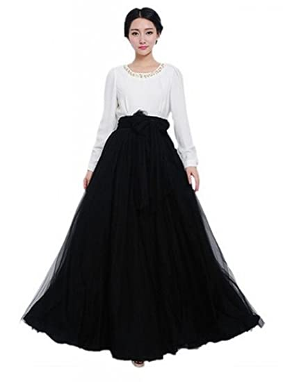 bf753cff2 Bowknot Waist Chiffon Pleated Tiered Dress Long Maxi Skirt Gown at Amazon  Women's Clothing store: