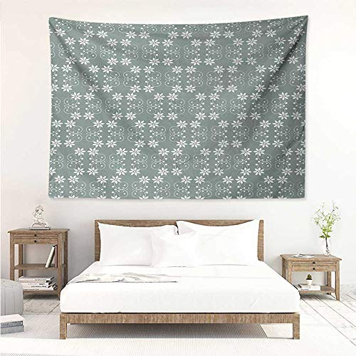Garden,Wall Decor Tapestry Artistic Baroque Style Inspired Delicate Daisy Flower Petals and Dots 80W x 60L Inch Tapestry Wallpaper Home Decor Pale Sage Green White ()