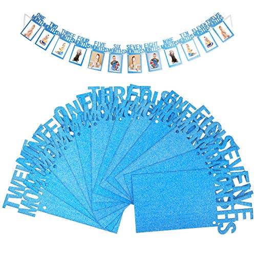 OOTSR 1st Birthday Baby Photo Banner, Baby 1-12 Month Blue Glitter Photo Prop for Party Bunting Decoration ()